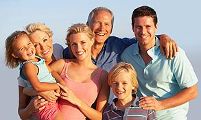 Make an appointment link, with photo of multigenerational smiling family.