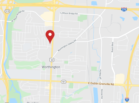 Link to an interactive map showing the location of Tikson & Eichenlaub Family Dental at 6641 North High Street, Suite 110, Worthington, OH 43085.